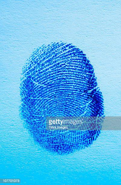 Close up of fingerprint on blue background