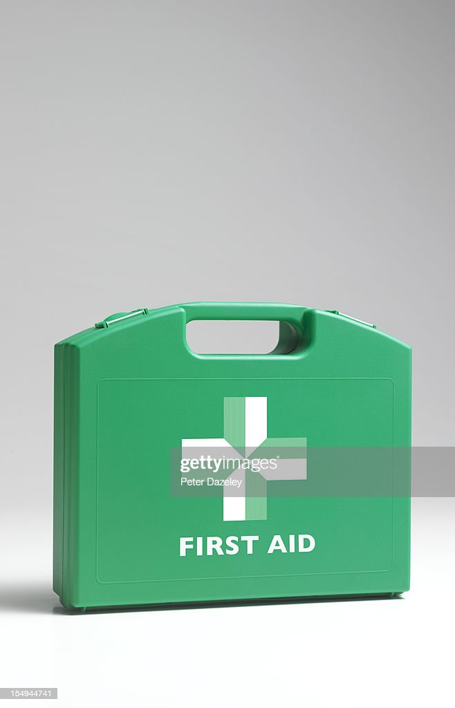 Close up of first aid kit box : Stock Photo