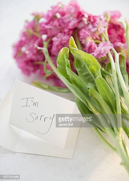 Close up of flower bouquet and note