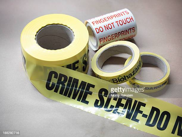 Close up of forensic tape used in crime scene