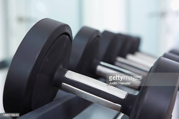 Close up of free weights in gym
