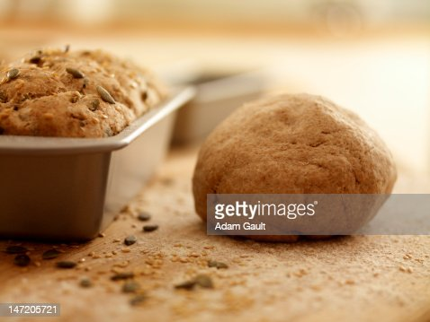 Close up of fresh baked bread and dough