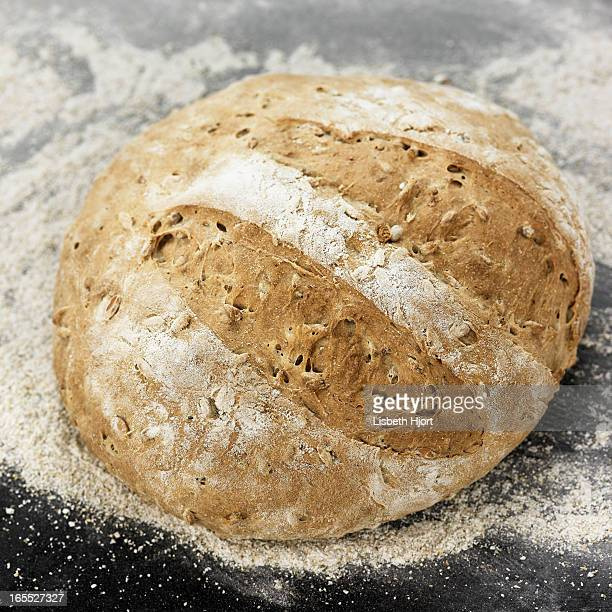 Close up of fresh baked loaf of bread
