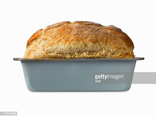 Close up of freshly baked bread in pan