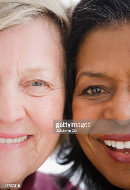 Close up of friends smiling