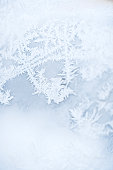 Close up of frozen window