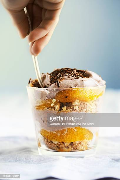 Close up of fruit and cream parfait