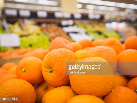 Close up of fruit for sale in grocery store