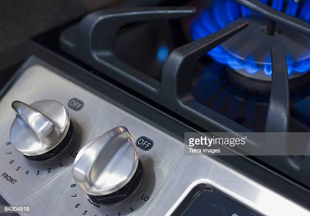 Close up of gas stove
