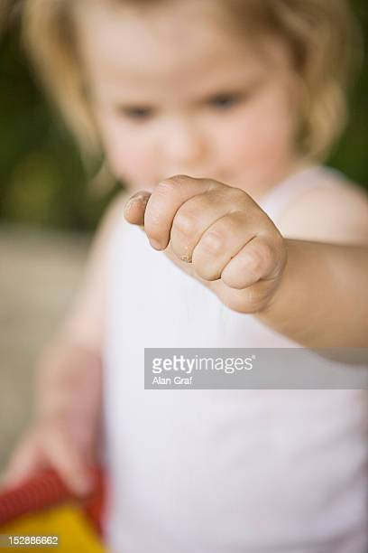 Close up of girls closed fist