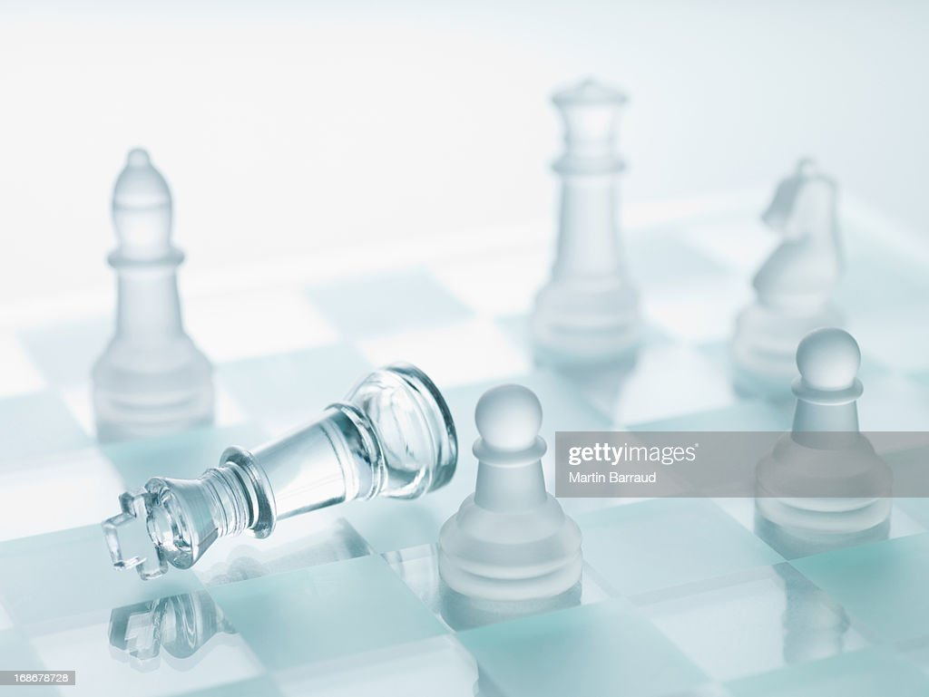 Close Up Of Glass Chess Pieces Stock Photo Getty Images
