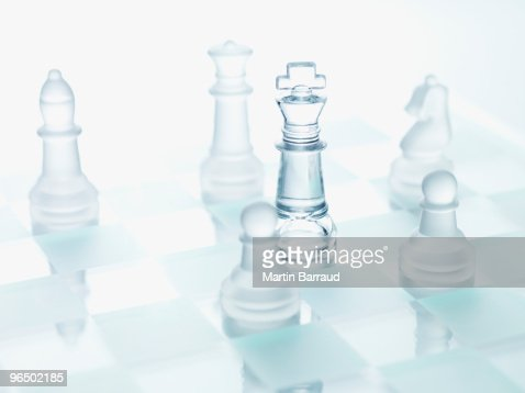 Close up of glass chess pieces