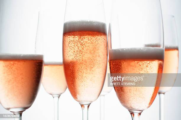 Close up of glasses of champagne