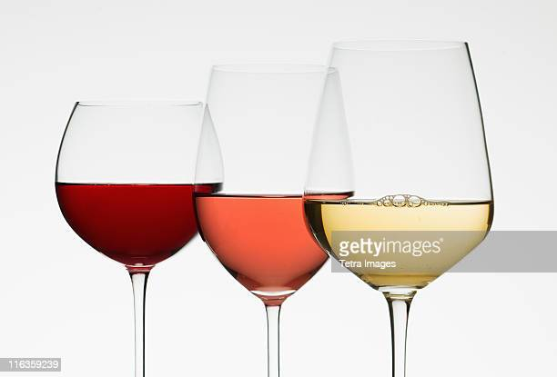 Close up of glasses of different wines