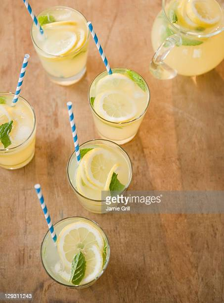 Close up of glasses with lemonade