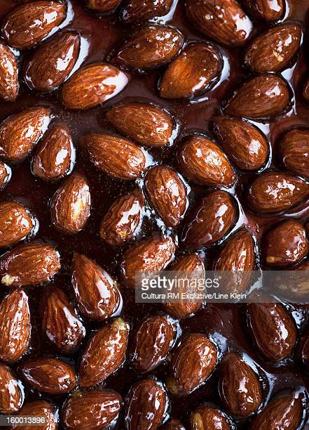 Close up of glazed almonds