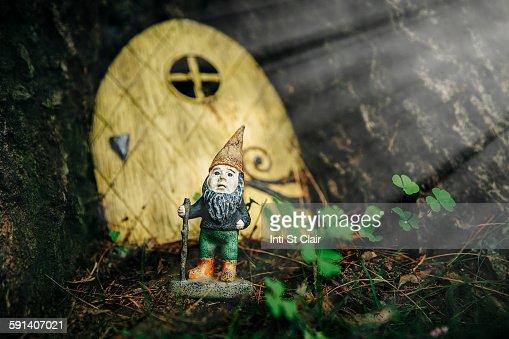 Close up of gnome figurine in garden