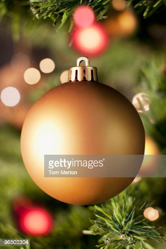 Close up of gold Christmas ornament : Stock Photo