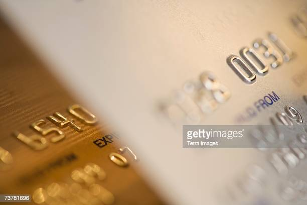 Close up of gold credit cards