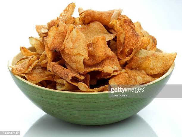 Gros plan de Green Bowl des Chips de pommes de terre