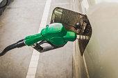 Close up of green gas dispenser