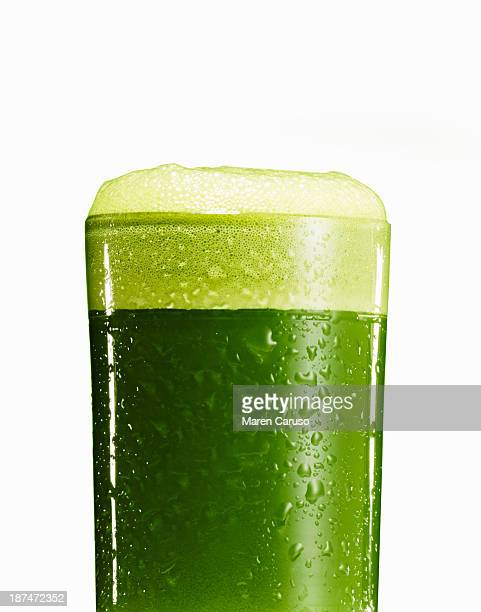 Close Up of Green Juice in Glass