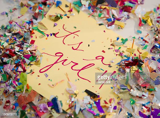 Close up of greeting card with confetti
