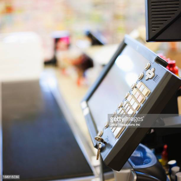 Close up of grocery store register