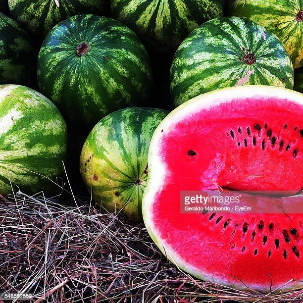 Close Up Of Halved Watermelon