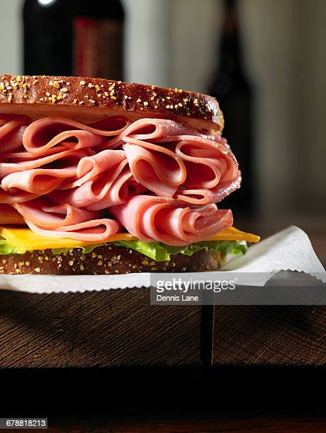 Close up of ham and cheese sandwich