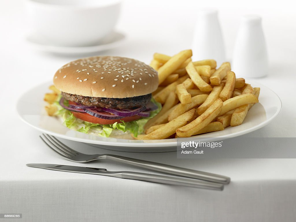 Close up of hamburger and french fries : Stock Photo