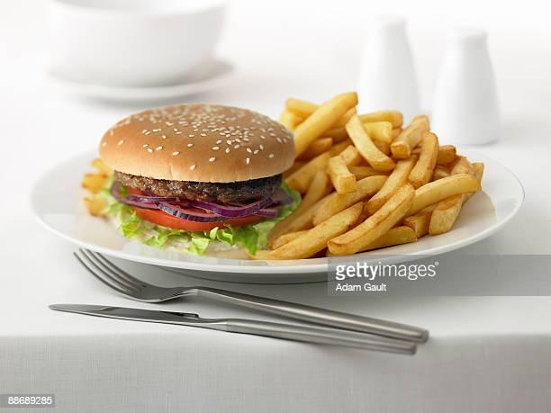 Close up of hamburger and french fries