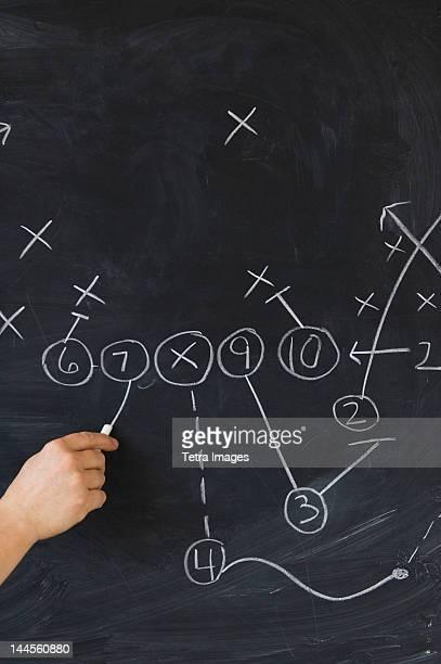 Close up of hand drawing plan on blackboard, studio shot