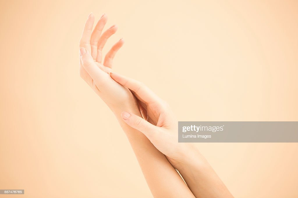 Close up of hands of woman rubbing