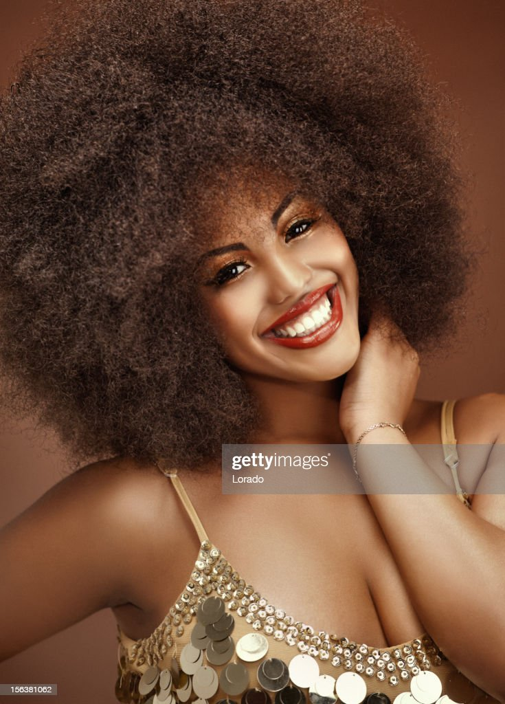 close up of happy black model : Stock Photo