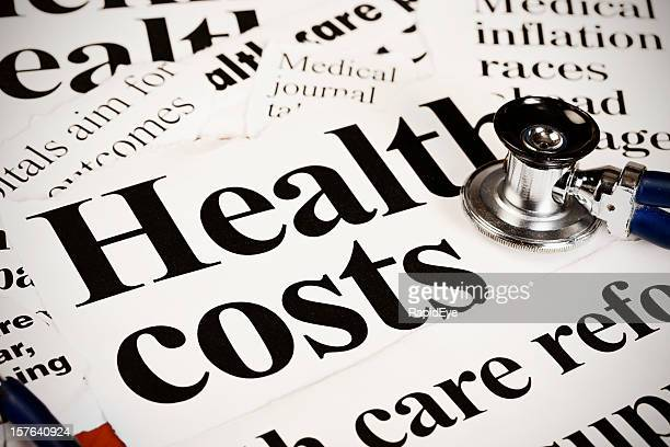 Close up of health costs headline with stethoscope
