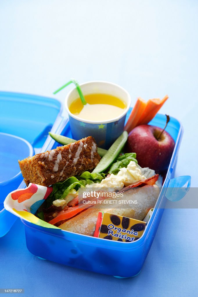 Close up of healthy food in lunch box