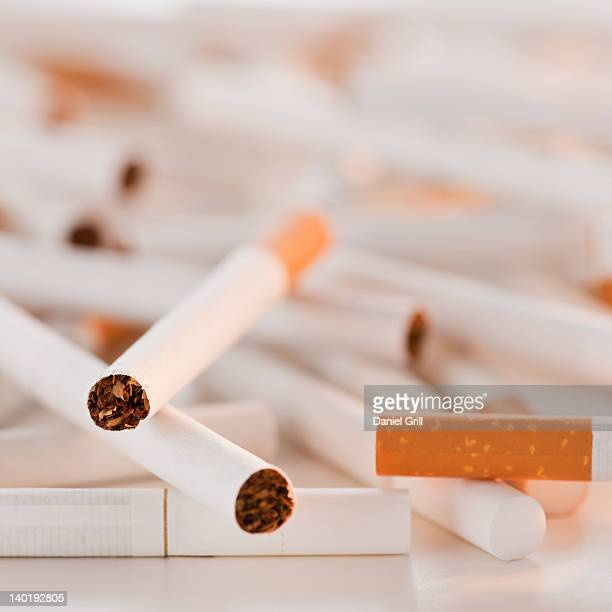 Close up of heap of cigarettes