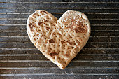 Close up of heart-shaped flatbread