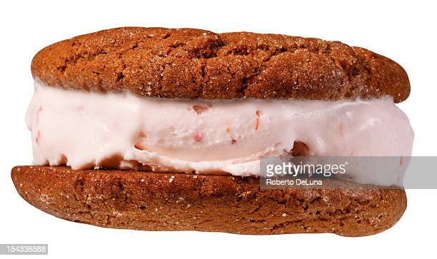 Close up of ice cream sandwich with black peeper spice cookie