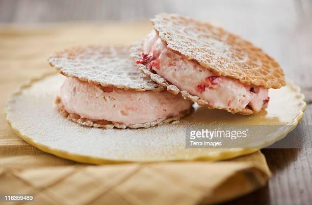 Close up of ice cream sandwiches