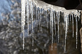 Close Up Of Icicles Hanging From Roof