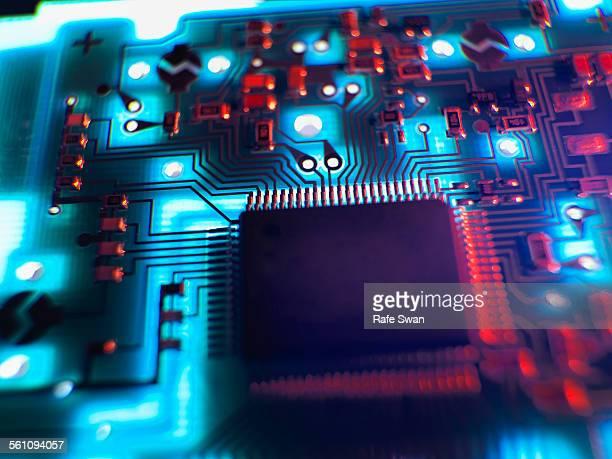 Close up of illuminated printed circuit board
