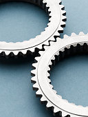 Close up of interlocking metal gears