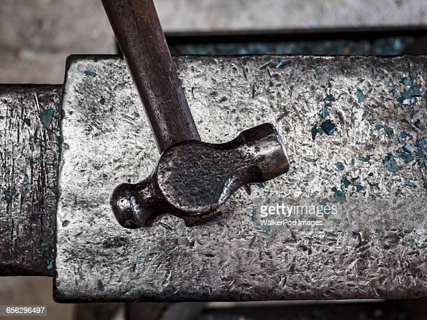 Close up of iron hammer