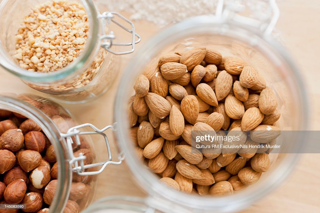 Close up of jars of nuts : Stock-Foto
