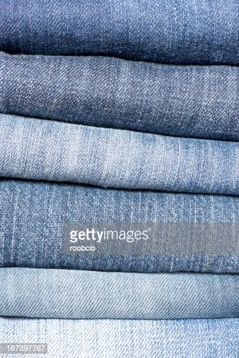 close up of jeans's pile. : Stock Photo