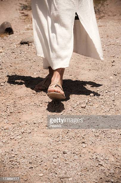 Close up of Jesus walking in the dessert