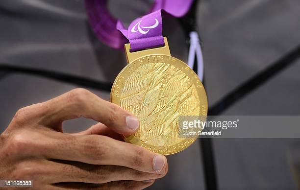 A close up of Justin Zook of the United Sates's gold medal that he was awarded after winning the Men's 100m Backstroke S10 final on Day 6 of the...