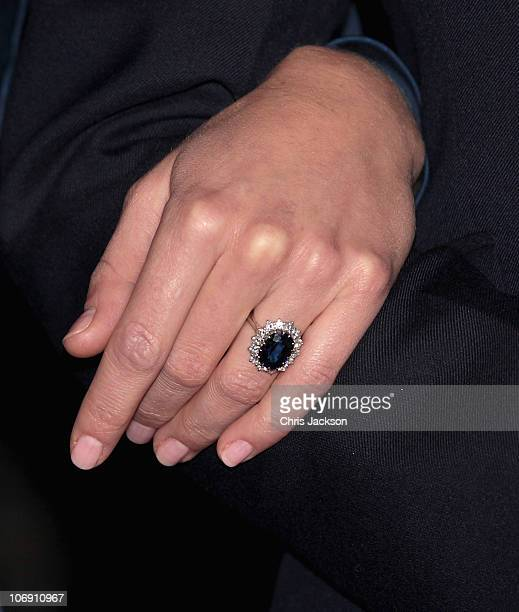 A close up of Kate Middleton's engagement ring as she and Prince William pose for photographs in the State Apartments of St James Palace on November...
